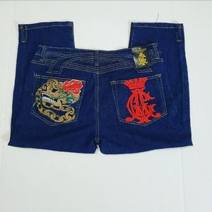 NWOT!Christian Audigier Womens Cropped Jeans